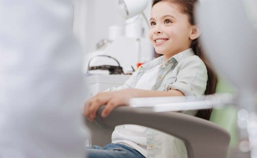 Girl in examination chair